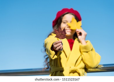 Autumn beauty. child maple leaf. kid in french beret. leaf fall. favorite season. good weather mood. parisian girl trendy look. school time. maple syrup. canada. happy small girl. autumn kid fashion.