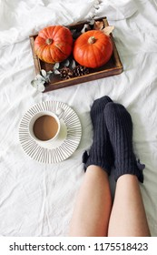 Autumn bed still life. Female legs in knitted socks and cup of coffee. Wooden tray with pumpkins, eucalyptus leaves, pine cones. White linen bed sheet background. Thanksgiving, Halloween. Flatlay, top