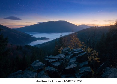 Autumn Beskydy Mountains with Stars and Mist at Twilight