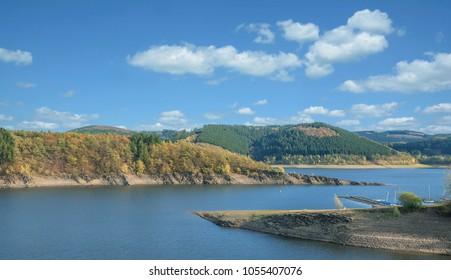 Autumn at Biggesee Reservoir in Sauerland,North Rhine westphalia,Germany