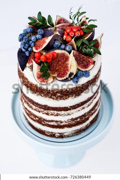Terrific Autumn Birthday Layered Cake Decorated Figs Stock Photo Edit Now Funny Birthday Cards Online Unhofree Goldxyz