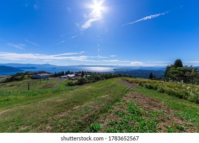 Autumn, Blue Sky and Lake Biwa