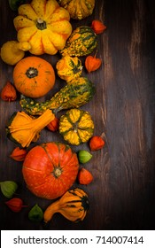 Autumn border with pumpkins and copy space for Thanksgiving and Halloween