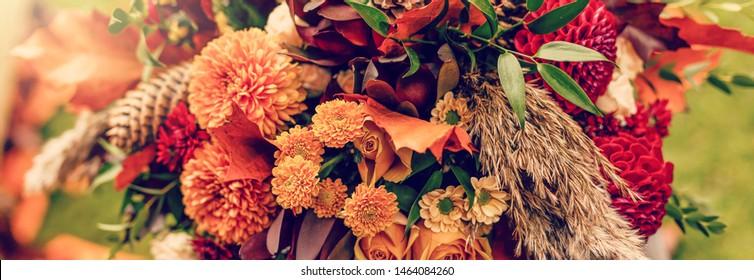 autumn bouquet with cones flower