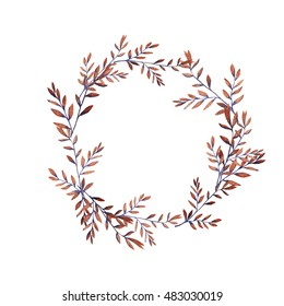 Autumn brown and violet leaves garland painted by watercolor. Hand drawn illustration.