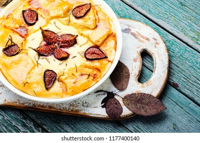Autumn cake, Italian focaccia with cottage cheese, figs and rosemary
