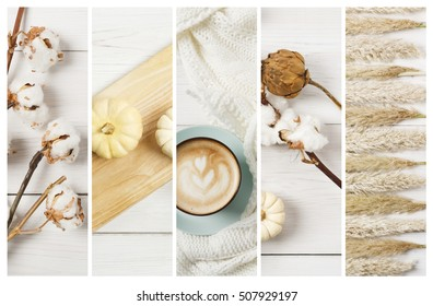 Autumn cappuccino or pumpkin latte composition collage background. Blue coffee cup top view with foam, cloves, autumn leaves and dried flowers. Fall seasonal hot drinks, decorations.