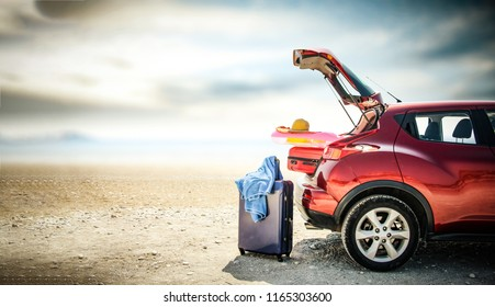 Autumn car trip and landscape of beach with sea. Free space for your decoration.