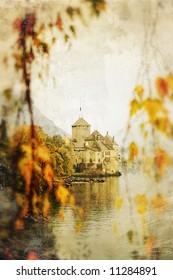 autumn castle beside lake - picture in retro style