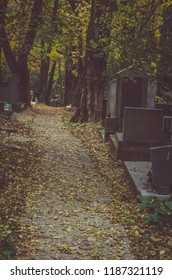 autumn in the cemetery at All Saints Day