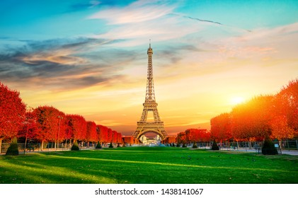Autumn at Champs de Mars with the view on Eiffel Tower in Paris, France