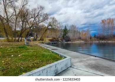 Autumn city park near water. Somers fishing place at Flathead Lake, Montana