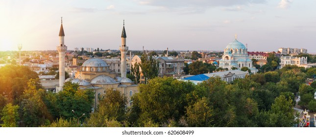 Autumn in the city Yevpatoriya - resort city in the West Crimea. Panoramic view of the historical center