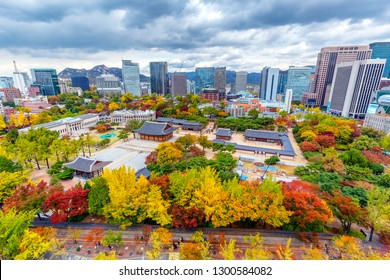 Autumn cityscape beautiful colored trees  at Deoksugung Palace in Seoul South Korea