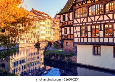 Autumn cityscape of Strasbourg with typical colorful half-timbered houses. Alsace, France