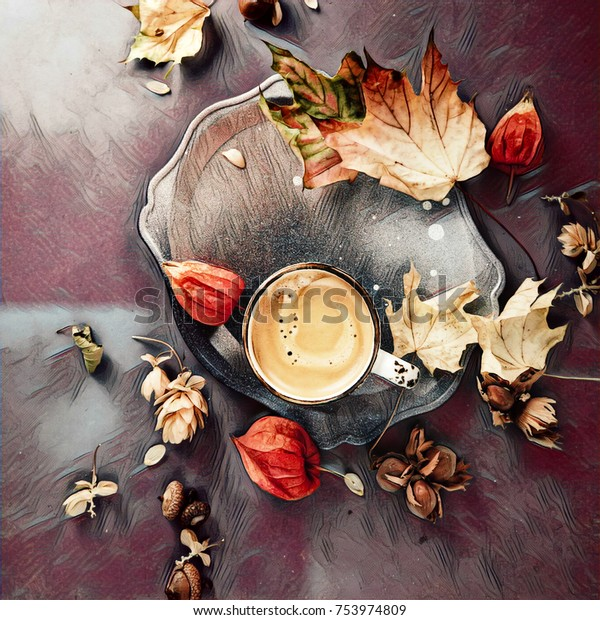 00c041ce59c Autumn coffee: cup of coffee set with autumn leaves and flowers, creative  flat lay