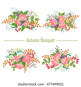 Autumn collection of bouquets of pink flowers and berries . Raster illustration .