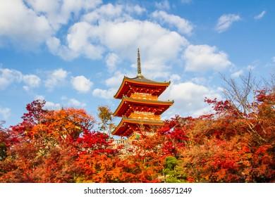 Autumn color around pagoda at Kiyomizu-dera,Kyoto.