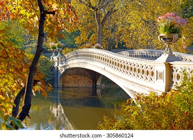 Autumn Color - Bow Bridge in Fall Foliage in Central Park, Manhattan New York