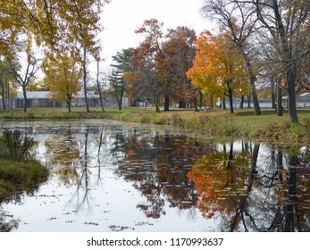 Autumn color reflected in water at the park