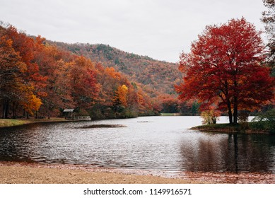 Autumn color at Sherando Lake, near the Blue Ridge Parkway in George Washington National Forest, Virginia.
