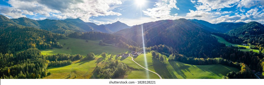 Autumn colorful coniferous forest, mountains from above. Bavarian alps, Tegernsee, Germany. Hiking.