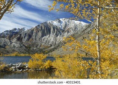 Autumn colors at Convict Lake in Sierra Nevada, California