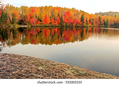 Autumn colors displayed around a small lake in the early morning.  Reflection of the beautiful forest is seen in the smoothness of the water