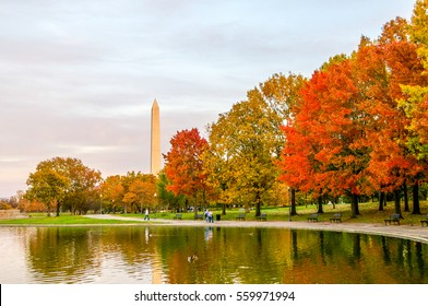 Autumn colors give way to the Washington Monument on a pond in Washington D.C.