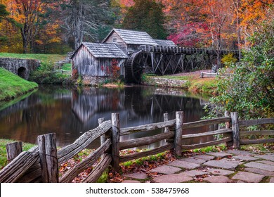 Autumn colors at Mabry Mill along the Blue Ridge Parkway in Virginia