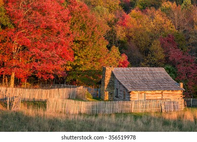 Autumn colors and old homestead, Cumberland Gap National Park