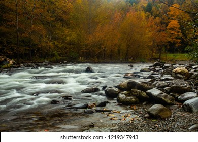 Autumn colors on Little River in Smoky Mountains National Park Tennessee