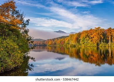 Autumn colors at Price Lake along the Blue Ridge Parkway in North Carolina