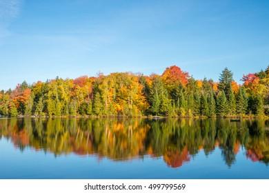 Autumn colors in Quebec, Canada (Lac Saint-Amour in Sainte-Anne-des-Lacs)