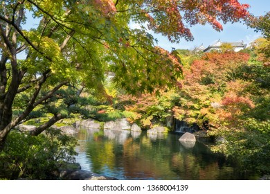 Autumn colors reflected in the pond at Koko-en Garden with Himeji Castle roof top in the distance above the tree line, in Japan.