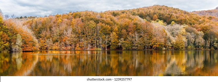 Autumn Colors and Reflections  in Santa Fe Reservoir, Montseny Natural Park, Catalonia