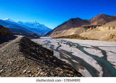 Autumn colors of Tiri village and Kali Gandaki riverbed, Mustang, Nepal.