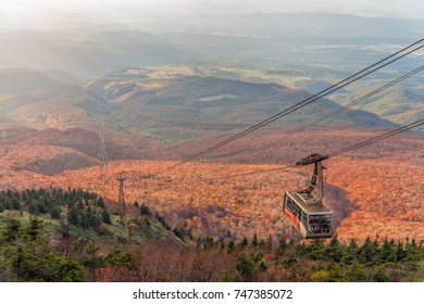 Autumn colour season of Hakkoda mountain and cable car riding to the summit, Aomori, Japan.