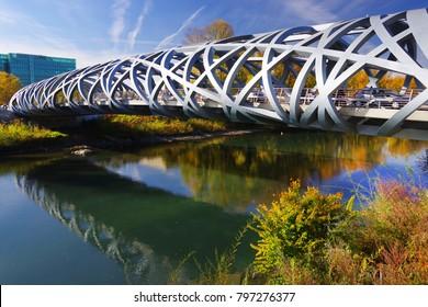 Autumn colours around the Arve River in Geneva, Switzerland, Europe