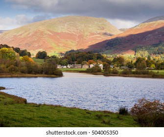 Autumn colours at Grasmere Lake, Grasmere, Cumbria, UK