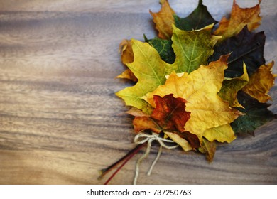 Autumn composition: Bright maple leaves on a wooden background with a white notepad.