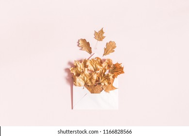 Autumn composition. Envelope with golden leaves on pastel pink background. Autumn, fall concept. Flat lay, top view