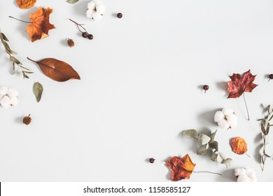 Autumn composition. Frame made of eucalyptus branches, cotton flowers, dried leaves on pastel gray background. Autumn, fall concept. Flat lay, top view, copy space - Shutterstock ID 1158585127