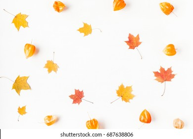 Autumn composition. Frame made of autumn maple leaves and physalis flowers. Flat lay, top view, copy space.