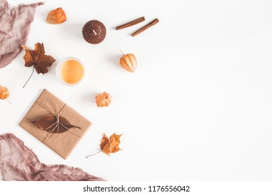 Autumn composition. Frame made of autumn things on white background. Flat lay, top view, copy space