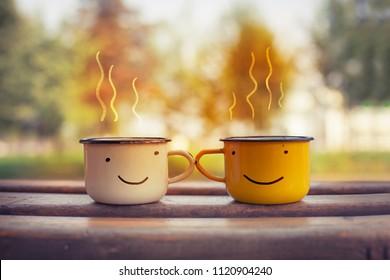 Autumn composition with hot tea/ cozy autumn background