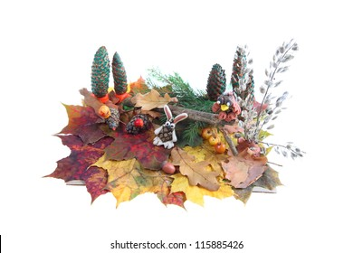 Autumn composition isolated on a white background