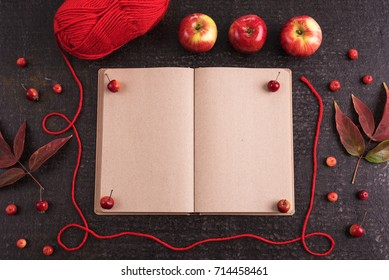 Autumn composition with an old empty book