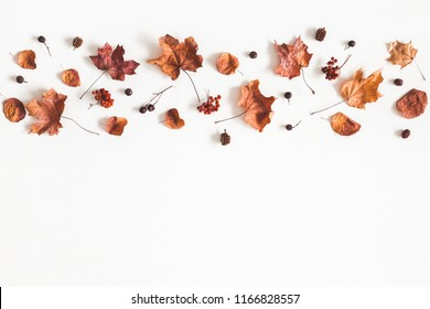 Autumn composition. Pattern made of dried leaves on white background. Autumn, fall concept. Flat lay, top view, copy space