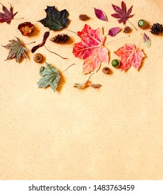 Autumn composition. Pattern made of autumn leaves, pine cones and acorns. Flat lay, top view, copy space